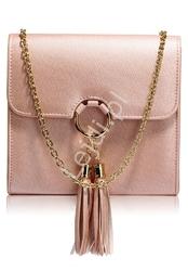 Przepiękna modna torebka z kółkiem i chwostami w fantastycznym kolorze błyszczącego metalicznego różu