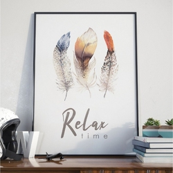 Plakat w ramie - relax time , wymiary - 30cm x 40cm, ramka - czarna