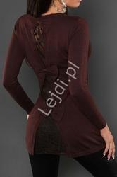 Sweterek dzianinowy brązowy z kokardkami  i koronką na plecach 8088