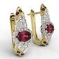 Kolczyki z żółtego i białego złota wzór lpk-65zb z rubinami i diamentami 0,52 ct