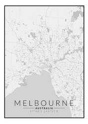 Melbourne mapa czarno biała - plakat wymiar do wyboru: 42x59,4 cm