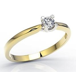 Pierścionek zaręczynowy z żółtego i białego złota z diamentami lp-8110zb