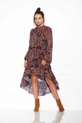 Zwiewna Sukienka Asymetryczna Z Falbankami we Wzory Druk 2