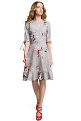 Sukienka midi we wzór z falbankami szara m381