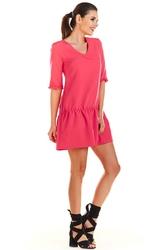 Fuksja Mini Sukienka z Dekoltem V