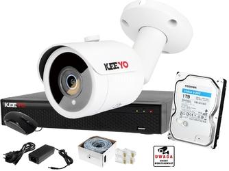 Zestaw do monitoringu keeyo ip h265+ 5mpx ir 30m 1x kamera tubowa 1tb