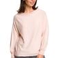 Brzoskwiniowy nietoperzowy sweter z bufiastym rękawem z lampasami