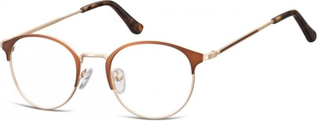 Oprawki okularowe lenonki damskie stalowe sunoptic 973d kawowo-złote