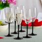 Kieliszki do szampana altom design onyx z czarną nóżką 180 ml, komplet 6 szt.