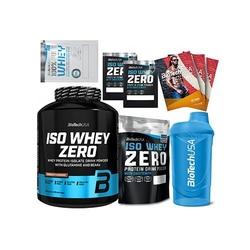 Biotech usa iso whey zero - 2270 g + iso whey zero - 500 g + 2x energy bar nuts + shot - l-carnitine + 4x próbka + shaker