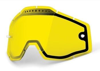 100 procent szybka enduro podwójna wentylowana do gogli racecraftaccuristrata kolor żółty z anti fog