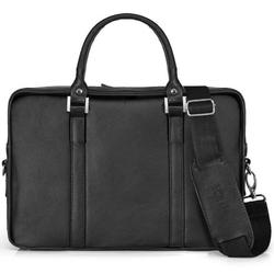 Skórzana torba na laptop solier sl25 czarna - czarny