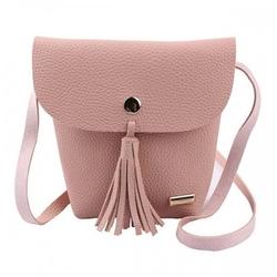Mała, skórzana torebka + frędzel różowa