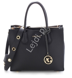 Elegancka czarna torebka damska z ekoskórki 0559