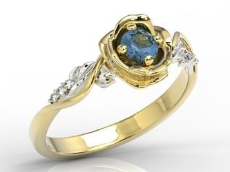 Pierścionek złoty w kształcie róży z szafirem i brylantami lp-7730zb - żółte i białe  szafir