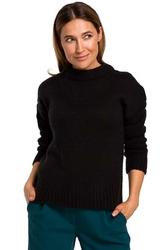 Czarny Klasyczny Sweter z Długim Rękawem