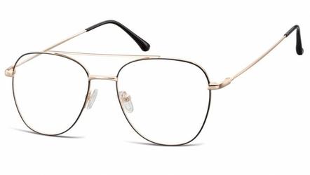 Oprawki okulary  pilotki zerówki korekcyjne 922d czarno-złote