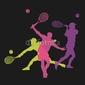 Obraz na płótnie canvas trzyczęściowy tryptyk sylwetka tenisisty