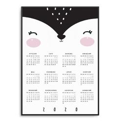 Foxy - kalendarz 2020 w ramie , wymiary - 70cm x 100cm, kolor ramki - biały
