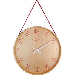 Zegar na ścianę wiszący na taśmie Loop Small Nextime czerwony 3233 RO