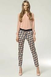 Eleganckie spodnie z kontrastową lamówką - wzór