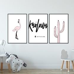 Zestaw plakatów dziecięcych - tropics princess , wymiary - 60cm x 90cm 3 sztuki, kolor ramki - biały