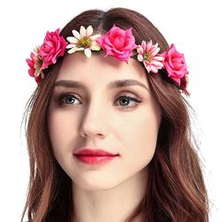 WIANEK opaska do włosów ŚLUB KWIATY różowy - 5