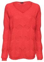 Sweter dzianinowy z dekoltem w serek bonprix truskawkowy