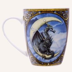 Błękitny smok i księżyc - porcelanowy kubek z nadrukiem projekt: lisa parker