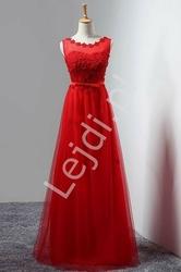 Czerwona elegancka sukienka wieczorowa zdobiona kwiatkami - kirsten