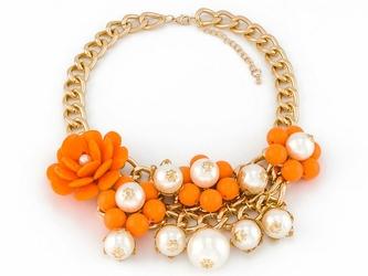 NASZYJNIK gruby łańcuch KWIATY 3D perły POMARAŃCZ - ORANGE