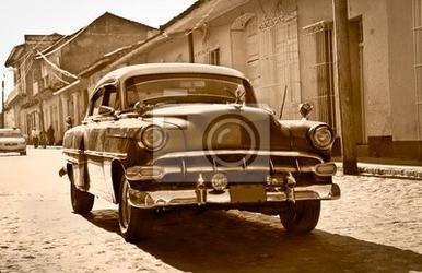 Plakat klasyczna chevrolet w trinidad, kuba