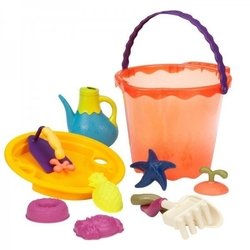 B.toys olbrzymie wiadro z akcesoriami do zabawy w piasku - pomarańczowe