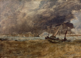 Reprodukcja seapiece with fishing boats off a wooden pier, a gale coming in, william turner
