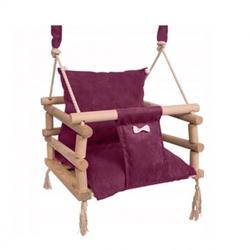 Huśtawka drewniana 3w1 dla dzieci do domu ogrodu bordowa