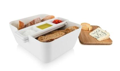 Pojemnik na pieczywo w zestawie do przekąsek Bread  Dip biały
