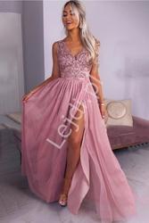 Suknia z tiulu i koronki chiara emo, pudrowy róż