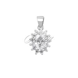 Srebrna zawieszka pr.925 elegancka biała cyrkonia - karmazycja