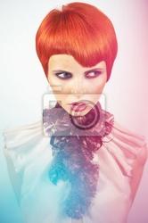 Obraz dama z stylowe fryzura