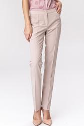 Beżowe spodnie damskie o klasycznym kroju