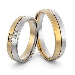 Obrączki ślubne dwukolorowe z brylantami - au-1001