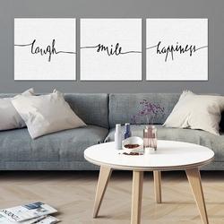 Minimalistyczne szczęście - komplet trzech obrazów na płótnie , wymiary - 90cm x 90cm 3 sztuki