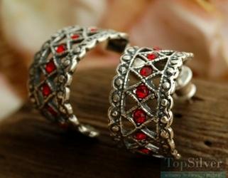 Gata - srebrne kolczyki z rubinami