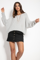 Milutki sweter oversize z dekoltem v - szary