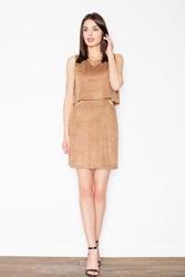 Brązowa niepowtarzalna zamszowa mini sukienka