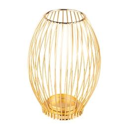 Świecznik metalowy altom design szprosowy złoty 16 x 16 x 22 cm