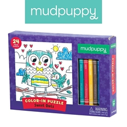 Mudpuppy puzzle kolorowanka z 5 kredkami słodkie sowy