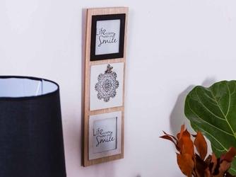 Tablica na zdjęcia wisząca drewniana altom design mandala 15 x 42 cm 2 zdjęcia 10 x 10 cm