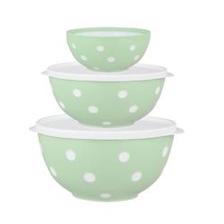 Salaterka  miska plastikowa dwukolorowa berossi miętowa, komplet 3 salaterek 0,7 + 1,4 + 2,0 l