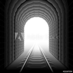 Obraz na płótnie canvas czteroczęściowy tetraptyk tunel kolejowy.